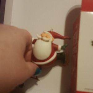 Skating Santa ornament
